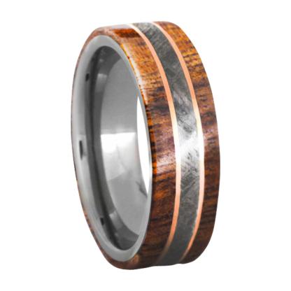 7 mm Dual KOA Wood & Meteorite/Rose Gold Inlay in Titanium Model #3270