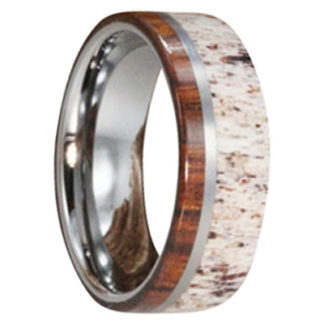 8 mm Ironwood & Antler Inlay in Titanium Model #3145
