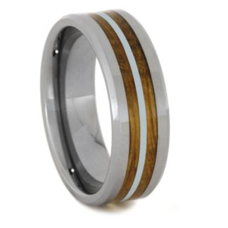 8 mm Whiskey Barrel Wood Inlay in Silver & Tungsten Model #3745