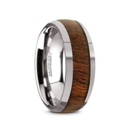 8 mm Black Walnut inlay Sloped Edges in Tungsten Model #5045