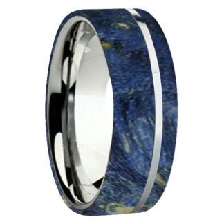 8 mm Blue Box Elder Wood Inlay with Titanium Stripe Model #3025