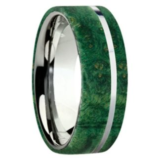 8 mm Green Box Elder Wood Inlay with Titanium Stripe Model #3030