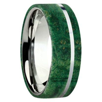 8 mm Green Box Elder Wood Inlay with Titanium Stripe Model #3030