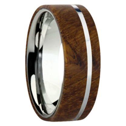 8 mm Teak Wood Inlay with Titanium Stripe Model #3055