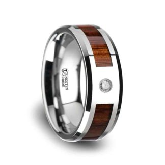 8 mm KOA & Diamond inlay Beveled Edges in Tungsten Model #5135