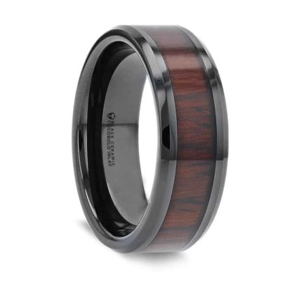 8 mm Cocobolo Wood Inlay Beveled Edges in Black Ceramic Model #5046