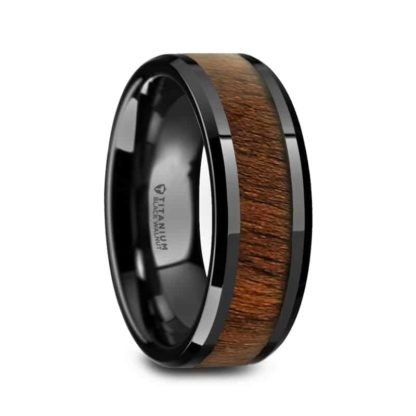 8 mm Black Walnut Inlay Beveled Edges in Black Titanium Model #5060