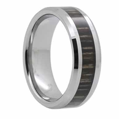 8 mm Tungsten with Hickory Inlay Model #1009