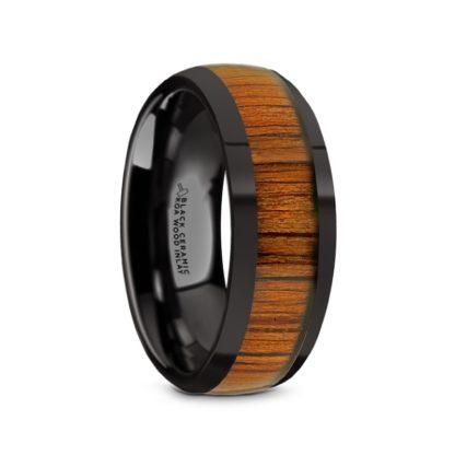 8 mm KOA Wood Inlay Sloped Edges in Black Ceramic Model #5065