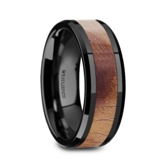 8 mm Olive Wood Inlay Beveled Edges in Black Ceramic Model #5070