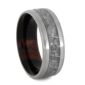 8 mm Ironwood Sleeve & Meteorite Inlay in Titanium Model #3255