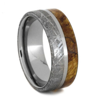 8 mm Maple Burl Wood & Meteorite Inlay in Titanium Model #3250