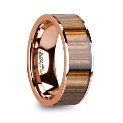 8 mm Zebra Wood Inlay in 14 Kt. Rose Gold Model #5650