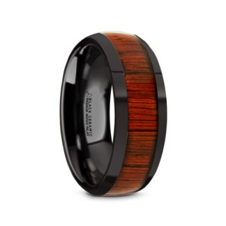 8 mm Padauk Wood Inlay Sloped Edges in Black Ceramic Model #5080