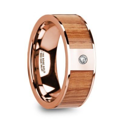 8 mm Red Oak Wood & Diamond Inlay in 14 Kt. Rose Gold Model #5655