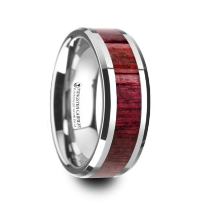 8 mm Purpleheart Wood Inlay Beveled Edges in Tungsten Model #5083