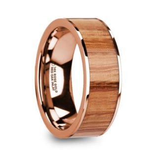 8 mm Red Oak Wood Inlay in 14 Kt. Rose Gold Model #5665