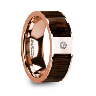 8 mm Black Walnut Wood & Diamond Inlay in 14 Kt. Rose Gold Model #5670