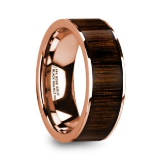 8 mm Black Walnut Wood Inlay in 14 Kt. Rose Gold Model #5675