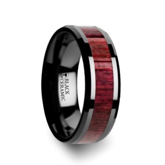 8 mm Purpleheart Wood Inlay Beveled Edges in Black Ceramic Model #5084