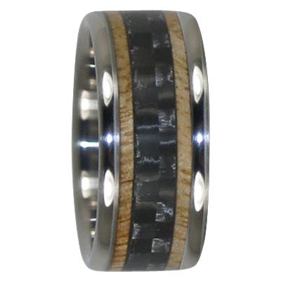 10 mm Mango Wood and Black Carbon Fiber in Titanium Model #7025
