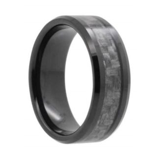 8 mm Black Tungsten Carbide with Carbon Fiber Inlay Model #990