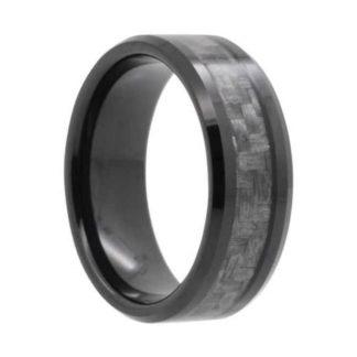 8 mm Black Tungsten Carbide with Carbon Fiber Inlay Model #990