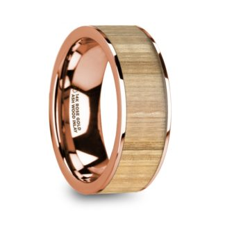 8 mm Ash Wood Inlay in 14 Kt. Rose Gold Model #5680