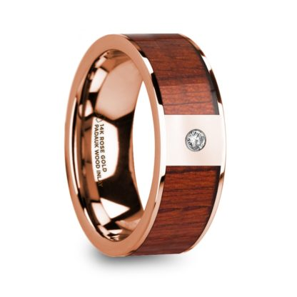 8 mm Padauk Wood & Diamond Inlay in 14 Kt. Rose Gold Model #5685