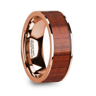 8 mm Padauk Wood Inlay in 14 Kt. Rose Gold Model #5690