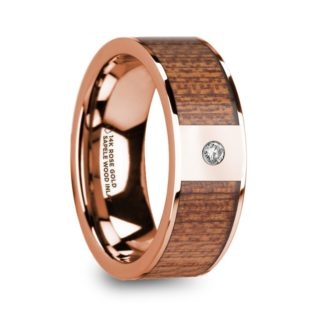 8 mm Sapele Wood & Diamond Inlay in 14 Kt. Rose Gold Model #5695