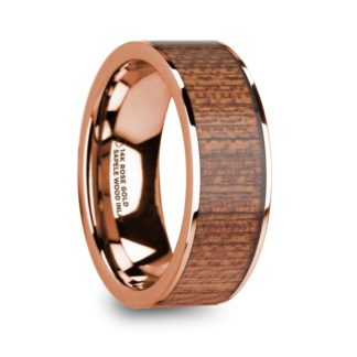 8 mm Sapele Wood Inlay in 14 Kt. Rose Gold Model #5700
