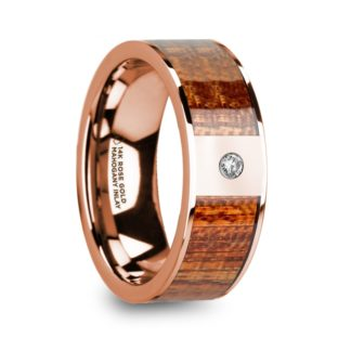 8 mm Mahogany Wood & Diamond Inlay in 14 Kt. Rose Gold Model #5705