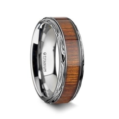 8 mm KOA Wood Inlay Carved Edges in Titanium Model #5090