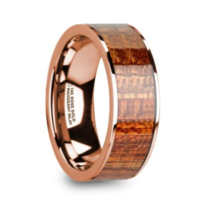 8 mm Mahogany Wood Inlay in 14 Kt. Rose Gold Model #5710