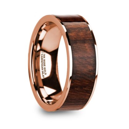 8 mm Carpathian Wood Inlay in 14 Kt. Rose Gold Model #5715