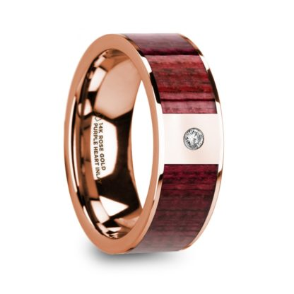 8 mm Purpleheart Wood & Diamond Inlay in 14 Kt. Rose Gold Model #5725