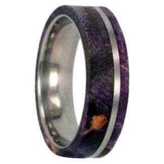 8 mm Purple Box Elder Wood Inlay in Titanium Model #3115