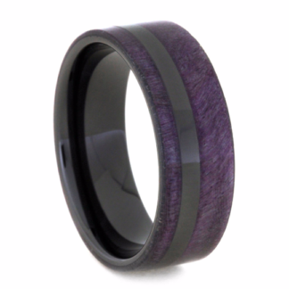 8 mm Purple Box Elder Wood Inlay in Black Ceramic Model #3520