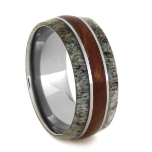 9 mm Petrified Wood & Dual Antler Inlays in Titanium Model #3235