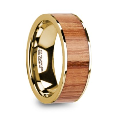 8 mm Red Oak Wood Inlay in 14 Kt. Yellow Gold Model #5730
