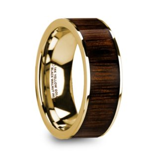 8 mm Black Walnut Wood Inlay in 14 Kt. Yellow Gold Model #5745