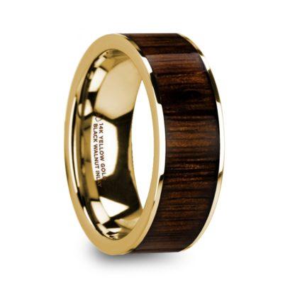 8 mm Black Walnut Wood Inlay in 14 Kt. Yellow Gold Model #5745
