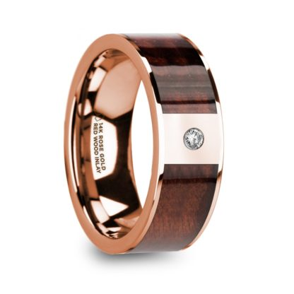 8 mm Redwood & Diamond Inlay in 14 Kt. Rose Gold Model #5750