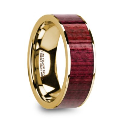 8 mm Purple Heart Wood Inlay in 14 Kt. Yellow Gold Model #5760