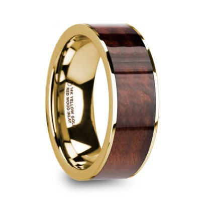 8 mm Red Wood Inlay in 14 Kt. Yellow Gold Model #5770
