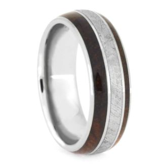 8 mm Mahogany & Meteorite Inlay in Titanium Model #3185