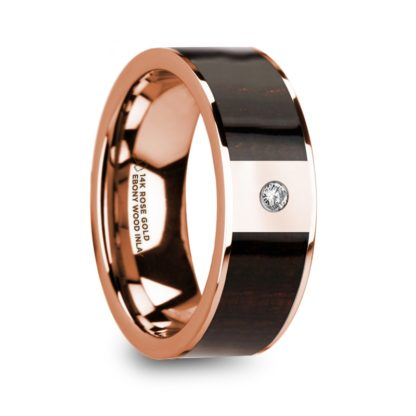 8 mm Ebony Wood & Diamond Inlay in 14 Kt. Rose Gold Model #5790