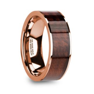 8 mm Red Wood Inlay in 14 Kt. Rose Gold Model #5795