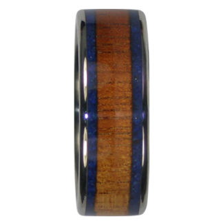 8 mm Dual Blue Lapis and KOA Wood in Titanium Model #7040